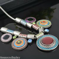 Womens Retro Retro Bohemia Boho Ethnic Bling Necklace Chunky Jewelry