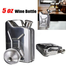 5oz Stainless Steel Jerry Can Hip Flask ReFuel Fuel Petrol Whisky+ Funnel Sliver