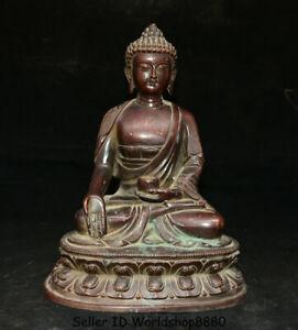 """11.6"""" Old Tibet Buddhism Purple Bronze Shakyamuni Amitabha Buddha Robe Statue"""