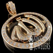 ARABIC ALLAH GOD CHARM PENDANT MEDALLION REAL LAB DIAMOND 18K ROSE GOLD FINISH