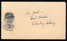 CHARLEY SCHANZ (1944-1950 Phillies, Red Sox) -Autograph 3x5 GPC (d.1992)