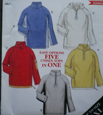 NEW New Look 6102 Five Styles Pullover Fleece Half Zip Jacket Top Pattern S-XXL