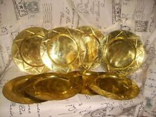 """*Vintage Brass~12"""" Plate Chargers~Lot Of 8~Star Pattern~Tarnished Patina~Nice*"""