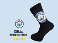 Man City PAIR OF OFFICIAL FOOTBALL TEAM SOCKS (6 to 11 MENS, MANCHESTER CITY)