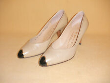 Ladies Light Beige High Heel Shoes w/ Black & Gold Accents by Bruno Magli Sz 5.5