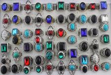50pcs Wholesale Lots Mixed Style Natural Stone Glass Fashion Jewelry Rings