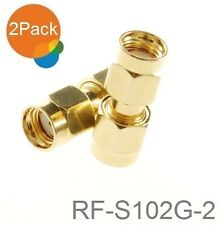 2-Pack RP-SMA Male to Male Gold Plated Coupler Gender Changer, RF-S102G-2