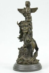 """Indian With Wolf Hunting Companion 13"""" High Bronze Statue Hot Cast Original Sale"""