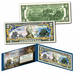 IWO JIMA Raising the Flag WWII Official Legal Tender $2 U.S. Bill - THEN & NOW