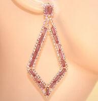 ORECCHINI ORO ROSA pendenti donna strass rombi cristalli eleganti cerimonia E150