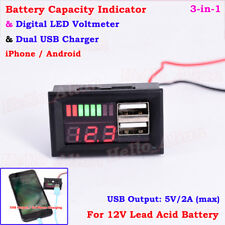 12V Lead Acid Battery BMS Capacity Level Indicator Volt Meter Dual USB Charger