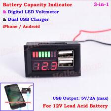 Digital Led 12v Lead Acid Battery Capacity Indicator Voltmeter Dual Usb Charger