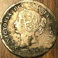1874 CANADA SILVER 5 CENTS COIN - Plain 4 - Corroded