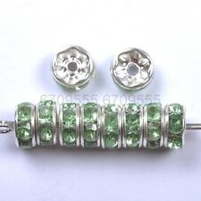 100Pcs Green Czech Crystal Rhinestone Plated Spacer Beads 6MM