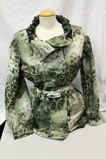 Carlisle Womens Dress Coat Size 10 Green Print Excellent Used Condition Belted