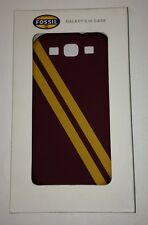Fossil Galaxy S3 Spencer Burgundy/Yellow Strip Cell Phone Silicone Rubber Case.