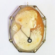 Vintage 14K White Gold And Diamond Large Cameo Pendant Pin Brooch