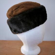 Vintage Brown Faux Fur & Corduroy Quilt Lined Russian Garrison Hat USA Union S