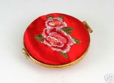 RED SATIN  EMBRIODERED COMPACT MIRROR - GO5104RM