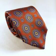 Robert Talbott Carmel Crimson Red and Blue Medallion Designer Mens Silk Tie