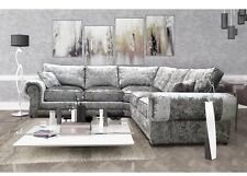 New Tango Large Fabric Corner Sofa in Luxury Silver Crushed Velvet Material,