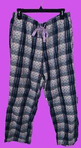 Victoria Secret Medium Pink Blue Plaid Polka Dot Pajama Pants Preowned