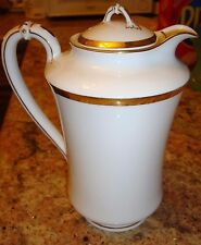 HAVILAND LIMOGES LARGE CHOCOLATE / COFFEE / TEA POT, WHITE & GOLD