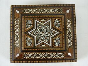 Rare master Craftsman marquetry box Middle Eastern Geometric inlaid Card Box