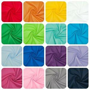 100% Cotton Poplin Solid Plain Fabric BRIGHT VIBRANT COLOUR 140cm Wide Material