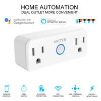 WATT8 Mini Wi-Fi Smart Plug, Dual Outlet, Works with Amazon Alexa & Google Home