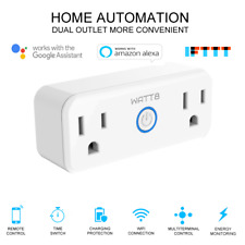 WATT8 Mini Wi-Fi Smart Plug, Dual Outlet, Works with Amazon Alexa & Google Home