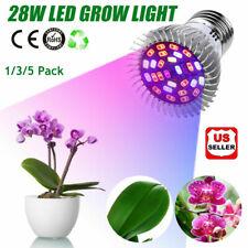1/3/5Pack 28W Full Spectrum E27 Led Grow Light Growing Lamp Bulb Plant Garden Us