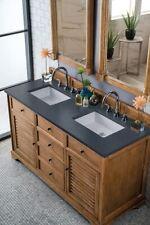 "72"" James Martin Savannah Driftwood Double Bathroom Vanity Soapstone Quartz Top"