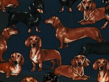 Dachshunds cute dogs navy Timeless Treasures fabric