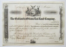 Oakland & Ottawa Michigan Railroad Stock Cert 1850s