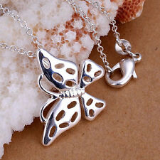 Silver Plated Butterfly Pendant and Necklace 46cm 18 Inch Chain.925 Sterling