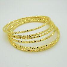 Set of 6 Multiple Bracelets Bangle 18K 22K 23K 24K Thai Baht Yellow Gold Plated