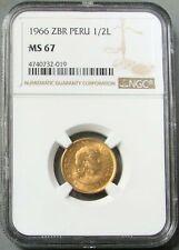 1966 GOLD PERU 1/2 LIBRA POUND NGC MINT STATE 67