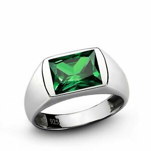 Men's Ring with Green Emerald Gemstone in 925 Sterling Silver
