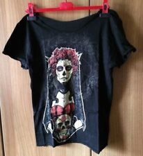 T-shirt tee cut-out nera skull red roses lady punk rock goth emo
