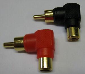 Right Angle Phono RCA Socket to Plug 90 Deg Adaptor x 2