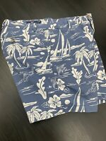 Men's Vineyard Vines Blue Breaker Shorts Embroidered Fish Sz 33 Island