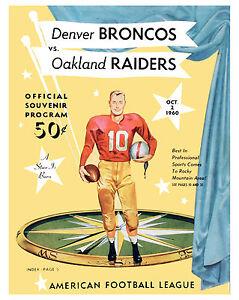 Denver Broncos (Program - Inaugural Home Game  - Oct  2 - 1960) - 8x10 Photo