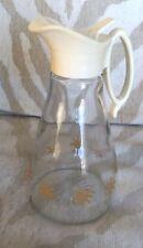 Vintage Log Cabin Syrup Glass Bottle Pitcher Gold Starburst Easy Pour Lid Spout