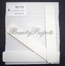 """50pcs White Jumbo Nail Files 80/100 Grit Square Shape 7"""" Sanding Acrylic File"""