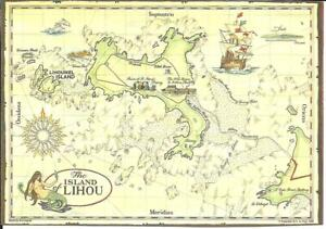 THE ISLAND OF LIHOU, CHANNEL ISLANDS (COLOUR PRINTED MAP POSTCARD)
