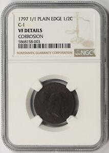 1797 1/1 Plain Edge C-1 Liberty Cap Half Cent 1/2C VF Details NGC
