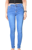 WAKEE BLUE HIGH RISE SKINNY LEG JEANS. SIZE 6-16