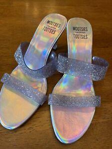 Mootsies Tootsies Collection Slip on SandalsMetallic SilverGlitter Sz 6 1/2