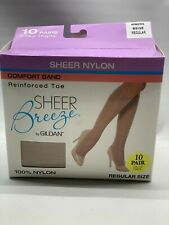 Sheer Breeze Gildan Regular 10 Pair Comfort Band Knee Highs Beige 40BERS